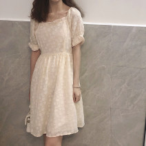 Dress Summer 2021 Apricot S,M,L Middle-skirt singleton  Long sleeves commute square neck High waist Broken flowers Single breasted A-line skirt routine 18-24 years old Type A Button, pocket, stitching 31% (inclusive) - 50% (inclusive) Chiffon cotton
