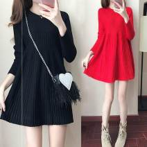 Dress Autumn of 2019 Black, red, grey S,M,L,XL,2XL,3XL Mid length dress singleton  Long sleeves commute High waist Solid color Socket A-line skirt routine Others Type A Korean version Resin fixation A0088 81% (inclusive) - 90% (inclusive) knitting other