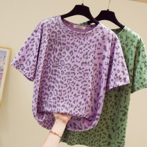 Women's large Summer 2021 Green, purple L [recommended 90-120 Jin], XL [120-140 Jin], 2XL [140-160 Jin recommended], 3XL [160-180 Jin recommended], 4XL [180-200 Jin recommended] T-shirt singleton  commute easy moderate Socket Short sleeve shape Crew neck routine Three dimensional cutting routine