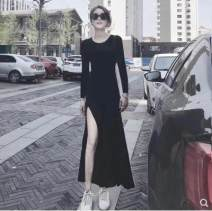 Dress Summer 2021 black S,M,L,XL,2XL longuette singleton  Short sleeve commute Crew neck High waist Solid color Socket Irregular skirt routine Others Type A VALVOELITE Korean version QWER1 91% (inclusive) - 95% (inclusive) knitting modal