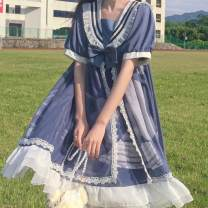 Dress Spring 2021 Black long sleeve, black short sleeve, black sling, blue long sleeve, blue short sleeve, blue sling Average size Mid length dress singleton  Short sleeve Sweet Admiral A-line skirt routine Others 18-24 years old Bow, ruffle, print other Lolita