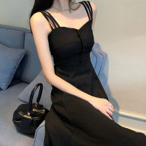 Dress Summer 2021 black longuette singleton  Short sleeve commute other High waist Solid color Socket A-line skirt routine 25-29 years old Type A Damoda / yaotaiping bird Korean version Stereo decoration, button 81% (inclusive) - 90% (inclusive) other other