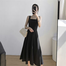 Dress Autumn 2020 black S,M,L,XL,2XL,3XL longuette singleton  Sleeveless commute One word collar High waist Solid color Socket Big swing camisole 18-24 years old Type A Damoda / yaotaiping bird Korean version Open back, pocket, strap, zipper 91% (inclusive) - 95% (inclusive) other other