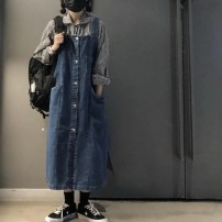 Dress Spring 2021 Blue [larger] S,M,L,XL,2XL longuette singleton  Long sleeves commute square neck Loose waist Solid color Single breasted A-line skirt routine straps Type A Damoda / yaotaiping bird Korean version pocket Denim cotton