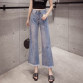 Jeans Spring 2021 Light blue, dark blue S,M,L,XL,2XL Ninth pants High waist Wide legged trousers routine 18-24 years old Thin denim light colour Damoda / yaotaiping bird 71% (inclusive) - 80% (inclusive)