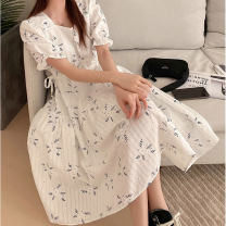 Dress Spring 2021 white S,M,L Middle-skirt singleton  Short sleeve commute square neck High waist Broken flowers Socket A-line skirt puff sleeve 18-24 years old Type A Korean version Auricularia auricula, lace up, printing 31% (inclusive) - 50% (inclusive)