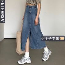 skirt Summer 2021 S M L XS Denim blue Mid length dress Retro High waist Denim skirt Solid color Type A 18-24 years old 3036# More than 95% other Princess fan SA other Other 100% Pure e-commerce (online only)