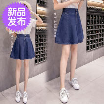 skirt Spring of 2019 S,XL,2XL,3XL,L,M Light blue, black, dark blue Short skirt Versatile High waist Pleated skirt Solid color Type A 18-24 years old 81% (inclusive) - 90% (inclusive) Denim cotton Chain, button