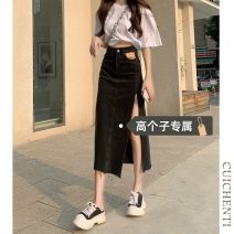 skirt Summer 2021 S M L Black [tall version] light blue [tall version] Mid length dress commute High waist 18-24 years old More than 95% Denim Cui chenti other Simplicity Other 100%