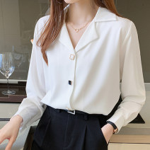 shirt White black S M L XS Spring 2021 polyester fiber 81% (inclusive) - 90% (inclusive) Long sleeves commute Regular V-neck Single row multi button routine Solid color 18-24 years old Straight cylinder Korean version Button Polyester 90% other 10% Pure e-commerce (online only)