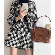 Dress Other / other Black and white thousand bird check top [single piece], black and white thousand bird check half skirt [single piece], top + Half skirt [suit] S,M,L