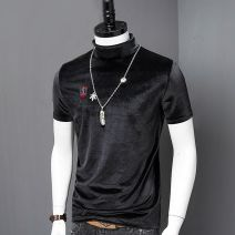 T-shirt Youth fashion Black, coffee, black (embroidery), coffee (embroidery), black (crew neck), coffee (crew neck) routine M,L,XL,2XL,3XL,4XL Others Short sleeve High collar Super slim daily spring teenagers routine like a breath of fresh air other 2019 Solid color badge polyester fiber other
