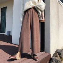 Casual pants Black, brown S. M, l, XL, 2XL, 3XL, 4XL, 5XL, baby is more suitable for spring, autumn and winter Winter 2020 Ninth pants Wide leg pants High waist commute thickening 25-29 years old 71% (inclusive) - 80% (inclusive) Other / other Korean version Three dimensional cutting
