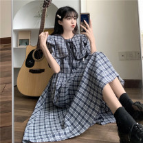 Dress Summer 2021 Brown, blue Average size longuette singleton  Short sleeve commute Crew neck High waist lattice Socket A-line skirt puff sleeve Others 18-24 years old Type A pocket 51% (inclusive) - 70% (inclusive)