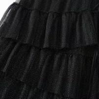 skirt Autumn 2020 M 165,S 160,XS 155 black Versatile High waist Cake skirt Dot Type A Other / other