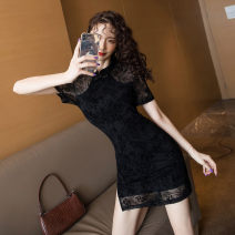 Dress Summer 2020 black S,XL,2XL,L,M Short skirt singleton  Short sleeve stand collar High waist Solid color Socket One pace skirt Type H Lace