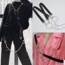 Belt / belt / chain Metal Black single bead strap, black double chain strap currency Hip hop Single loop Round buckle alloy Beads, chains