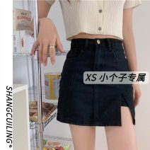 skirt Summer 2021 S M L XS Black light blue dark blue Short skirt commute Natural waist A-line skirt Solid color Type A 18-24 years old More than 95% other other Simplicity Other 100% Pure e-commerce (online only)