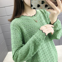 Wool knitwear Autumn of 2019 S,M,L,XL Off white, black, fruit green, golden yellow, light card color Long sleeves singleton  Socket other 31% (inclusive) - 50% (inclusive) Regular routine commute Straight cylinder Low crew neck routine Color matching Socket Korean version WDLS05383433843