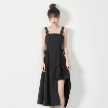 Dress Spring 2021 black XL S M L longuette singleton  Sleeveless commute One word collar High waist Solid color Socket A-line skirt routine camisole 25-29 years old Type A Xiamu language backless 51% (inclusive) - 70% (inclusive) polyester fiber Pure e-commerce (online only)