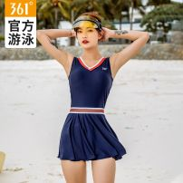 one piece  361° Tibetan green Skirt one piece With chest pad without steel support Nylon, spandex, polyester SLY201084 female Sleeveless Casual swimsuit