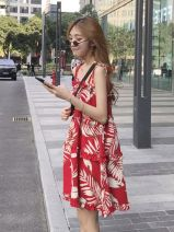 Dress Summer 2020 Red floral suspender dress S,M,L,XL Short skirt singleton  Sleeveless commute One word collar Loose waist Broken flowers Socket A-line skirt routine camisole 18-24 years old Type A Korean version Fungus, lace up