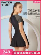 one piece  Other S,M,L,XL Black grey Skirt one piece With chest pad without steel support Nylon, spandex, polyester female Short sleeve Casual swimsuit Pleating