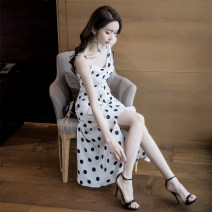 Dress Summer 2020 White long (more than 160cm recommended), white short (less than 160cm recommended) S,M,L,XL longuette singleton  Sleeveless commute V-neck High waist Solid color zipper Irregular skirt other camisole 25-29 years old Type A Ruffle, fold, lace, zipper other