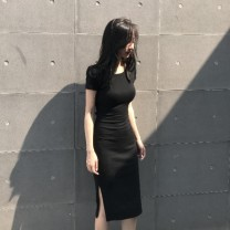 Dress Summer 2021 Black, red S,M,L,XL Mid length dress singleton  Short sleeve commute V-neck High waist Solid color Socket One pace skirt routine Others 25-29 years old Korean version XIXT - LYQ3069 More than 95% other other