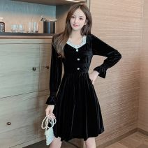 Dress Spring 2021 black S,M,L,XL Mid length dress singleton  Long sleeves commute square neck High waist Solid color Socket A-line skirt pagoda sleeve 18-24 years old Type A Yunmi Flower Fairy Korean version Stitching, buttons, lace More than 95% other