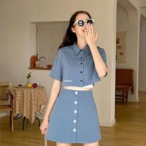 Square dance suit Other S,M,L,XL Black top + Black skirt , Blue top + The blue skirt female Self cultivation Sleeveless Solid color High waist