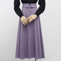 skirt Summer 2021 S,M,L,XL Purple, black, white Mid length dress commute High waist A-line skirt Solid color Type A 18-24 years old 31% (inclusive) - 50% (inclusive) Chiffon other Button Korean version