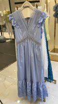 Dress Spring 2021 blue S Long sleeves Solid color routine