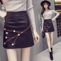 skirt Winter 2017 S,M,L,XL,2XL black Short skirt commute High waist A-line skirt Broken flowers Type A 25-29 years old 51% (inclusive) - 70% (inclusive) PU Embroidery, zipper Retro