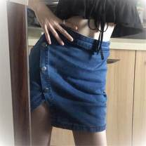 skirt Summer 2020 S,M,L Dark blue-018 Short skirt commute High waist Irregular Solid color Type H 18-24 years old 19F2D007 71% (inclusive) - 80% (inclusive) other Other / other polyester fiber Button, zipper Korean version
