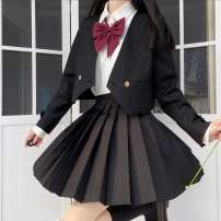 student uniforms Winter 2020 Black one button suit, black one button suit + black skirt + white long sleeve lining L,S,XL,M Long sleeves solar system skirt 18-25 years old Other / other 96% and above