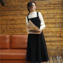 Dress Autumn 2021 Black suspender skirt + sweater, [small short] black suspender skirt + sweater, red sweater + black suspender skirt, [small short] red sweater + black suspender skirt, black sweater + Red suspender skirt, [small short] black sweater + Red suspender skirt longuette Two piece set