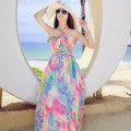 Dress Summer 2021 Picture color S,M,L longuette singleton  Sleeveless Sweet other middle-waisted Decor Socket other other Hanging neck style 18-24 years old Type A Other / other Print, backless, bow tie, bandage 51% (inclusive) - 70% (inclusive) Chiffon polyester fiber