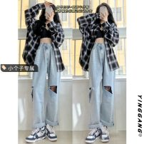 Jeans Summer 2021 blue S M L XS trousers High waist Straight pants 18-24 years old light colour Yinggang Other 100%