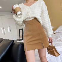 skirt Autumn 2020 XS,S,M,L,XL Black, khaki, white Short skirt Versatile High waist A-line skirt 18-24 years old other PU Zipper, solid