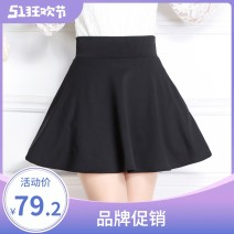 skirt Spring 2021 M,L,XL,2XL,3XL Black, Burgundy, scarlet longuette Sweet A-line skirt Solid color 18-24 years old US16A901 other Yishion / Yichun Pleating, stitching