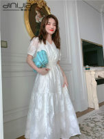 Dress Summer 2021 Picture color S,M,L,XL Mid length dress singleton  Short sleeve commute V-neck High waist Socket Princess Dress Pile sleeve Others 25-29 years old Type A Korean version 8330 not real 81% (inclusive) - 90% (inclusive) Lace rabbit 's hair