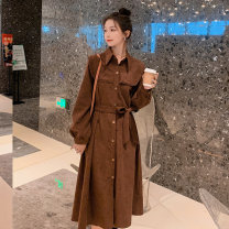 Dress Spring 2021 Elegant black, jujube red, new brown S,M,L,XL Mid length dress singleton  Long sleeves commute Polo collar High waist Solid color Single breasted Big swing routine Others 18-24 years old Type A Other / other Korean version Pocket, lace up, button ZB48588051208 06QLa More than 95%