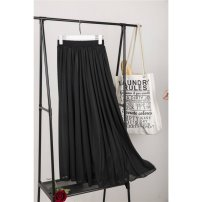 skirt Spring 2020 80cm, 90cm, 100cm White 3-meter skirt, black 3-meter skirt, white 1.5-meter skirt, black 1.5-meter skirt, customized racket, White Chiffon 3-meter skirt with good air permeability, black chiffon 3-meter skirt with good air permeability longuette Versatile A-line skirt Solid color