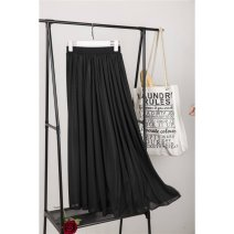 skirt Spring 2020 80cm, 90cm, 100cm White 3-meter skirt, black 3-meter skirt, white 1.5-meter skirt, black 1.5-meter skirt, customized racket, White Chiffon 3-meter skirt with good air permeability, black chiffon 3-meter skirt with good air permeability longuette Versatile A-line skirt Solid color