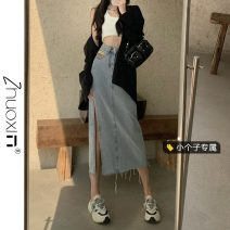 skirt Summer 2021 S M L XS Light blue and dark grey Mid length dress Versatile High waist skirt Solid color Type A 18-24 years old More than 95% Denim Zhuoxin other Button Other 100% Pure e-commerce (online only)