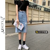 skirt Summer 2021 S M L XS blue Mid length dress commute High waist Denim skirt Solid color Type A 18-24 years old More than 95% other Zhuoxin other Korean version Other 100% Pure e-commerce (online only)