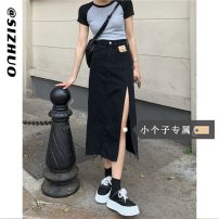 skirt Summer 2021 XS S M L Black (Collection Plus priority delivery) light blue (Collection Plus priority delivery) Mid length dress commute High waist A-line skirt Solid color Type A 18-24 years old 8027# More than 95% Si Zhuo other Korean version Other 100% Pure e-commerce (online only)