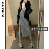 skirt Summer 2021 XS S M L Black (Collection Plus priority delivery) light blue (Collection Plus priority delivery) Mid length dress commute High waist A-line skirt Solid color Type A 18-24 years old More than 95% Denim Si Zhuo other Button Korean version Other 100% Pure e-commerce (online only)