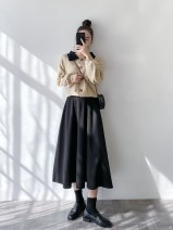 skirt Spring 2021 S,M,L Black wool medium length umbrella skirt, coffee wool medium length umbrella skirt longuette commute High waist Umbrella skirt Solid color Type A 25-29 years old Wool Splicing Korean version
